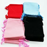 7x9cm المخملية الحقيبة الرباط كيس / حقيبة مجوهرات عيد الميلاد / هدية الزفاف حقائب أسود أحمر وردي أزرق 4 اللون بالجملة دي إتش إل الحرة