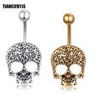 Fancy Navel Piercing Jewelry 14G Acero Inoxidable Skull Girl Mujeres Bell Barbell Bar Pendiente Ombligo Anillos 20 unids