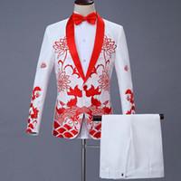 Ensemble 2 pièces 2019 chanteur hôte scène robe chinoise hommes costumes costume brodé de cérémonie Robes de bal Costumes de mariage 1283