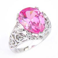 Nettes süßes Feuer Rosa Kunzit Edelsteine Ring 925 silberne neue Art und Weise Schöne Schmucksache-Frauen-Hochzeitsfest-Geschenk-Kristall-Ring 10 PC