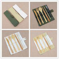 7 unids / set Portable Travel Cutlery Set Bamboo Flatware Set Chopsticks Fork Spoon Straw Tenedor Setwater Set Útil Fiesta Fiesta Gifts Guests