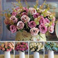 Decoratieve bloemen kransen bruiloft bruids Europese bos kunstmatige roze blad boeket tuin