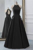 Sencilla Negro vestidos de baile vestidos de noche baratos cabestro vestido con bolsillos de cristal satinado ojo de la cerradura Volver acanalada partido del desfile formal