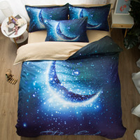 Blue Moon Star Bedding Set 3D- printed Duvet Cover Pillowcase...