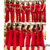 Abiti da damigella d'onore della sirena rossa araba Elegante una parte spalla Spalato Plus Size Dress da sposa abito da sposa African African Maid of Honor Agaws