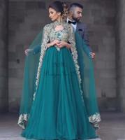 2021 Cacciatore Arabo Abiti da sera musulmana con avvolgimento del collo alto Sweep Train Appliques orologio Speciale Dress Plus Size Vestidos de Fiesta