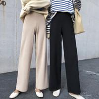 2019 Kore Kadınlar Pantolon Sonbahar Kış Geniş Bacak Pantolon Elastik Yüksek Bel Bayan Casual Gevşek Pant örme
