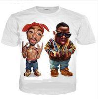 Nuovo arriva Hip Hop stile estivo Biggie Smalls e 2Pac divertente 3D Stampa Moda Uomo T camicia delle donne supera il trasporto libero XS051