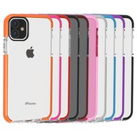 Hybrid Dual Color Clear Case Mesh Drop Hard PC Cover Soft TPU Frame Protection Cover för ny iPhone 11 2019 XR XS Max X 7 8 Plus