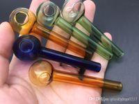 Tubo de 7cm de mini Gran Pyrex vidrio grueso quemador de aceite Aceite de cristal Burning Pipe somking tuberías de tuberías de agua libre del envío