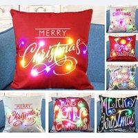 Fodera per cuscino luminoso a LED Fodere per cuscino in lino Fodere per cuscino Creativo Natale XMAS Federa quadrata Divano per la casa Decorazione auto HH9-2308