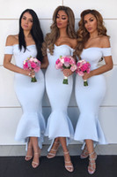 Sexy Off Shoulder Mermaid Bridesmaid Dresses Cheap African Ankle-Length Sheath Wedding Guest Gown Formal Prom Evening Party Dresses BM0927