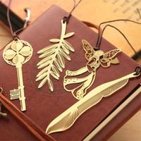 창조적 인 골든 북마크 금속 책 마크 우아한 종이 클립 금속 잎 키 마커 아름다운 독서 도우미 문구 책갈피