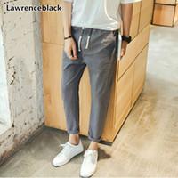 Lawrenceblack recortadas pantalones de los hombres pantalones 2019 nueva llegada del verano marca de moda larga de algodón pantalones elásticos de la cintura masculina recortadas 11251