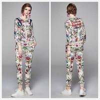 Lüks Bayanlar Pist Çiçek Iki Parçalı Setleri Uzun Kollu Baskılı Ceketler Coat + Uzun Pantolon 2 ADET Ince Zarif kadın Tasarımcı Iki Parçalı Pantolon