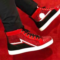 cuero de gamuza roja + strass diamantes de imitación de alta superior se dispararon las zapatillas de deporte zapatos rojos de las zapatillas de deporte de fondo para mujeres de los hombres de color rojo único planos del ocio de la boda