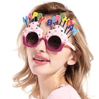 Happy Birthday Occhiali da sole Sweet Cream Cake Glasses Costume Glasses Props Funny Novelty per Birthday Party Favors