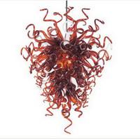 현대 미술 장식 손 불어 유리 매달려 LED 샹들리에 빛 높은 천장 장식 현대 크리스탈 펜던트 램프