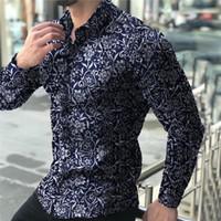 Yaka Boyun Erkek Casual Gömlek Moda Erkek Giyim Artı boyutu Mens Tasarımcısı Gömlek Çiçek Baskılı Uzun Kollu