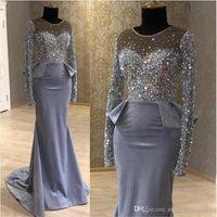 Modest Plus Size Lace Mermaid Mother Of The Bride Dress frisada Crystals o chão Sheer Jewel Neck Vestidos de noite formal Prom Vestidos