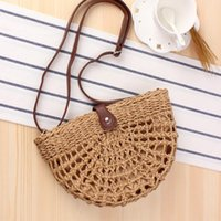 New Summer Handmade Bags Women Beach Weaving semi- circular S...