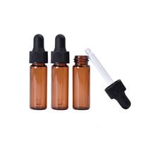 4 ml rojo-ámbar vidrio con gotero pequeña botella de aceite esencial con Drepper Mini herramientas portátiles de contenedores aromaterapia RRA1410