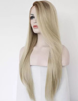 Fashion 2 Tones Blonde Color Ombre Wig Long Straight Synthet...