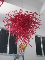 이탈리아어 손 불어 유리 펜던트 조명 현대 크리스탈 무라노 유리 레드 작은 샹들리에 아트 데코 천장 LED 조명
