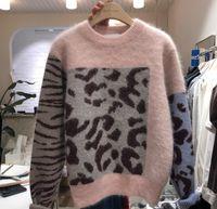 2020 Mode Haute Qualité Femmes Rose Patchwork Leopard Tricot Pull épais Casual Automne Hiver Mink Cashmere en vrac Tops Pull