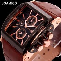 Boamigo Мужчины Кварцевые Часы Брови Кожаный Ремешок Авто Дата Часы Мужской Моды Случайные Аналоговые Большой Человек Наручные Часы Relogio Masculino Y19070603