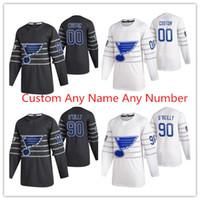 Qualquer 2020 All-Star Hockey Jerseys St. Louis Blues 90 Ryan O'Reilly 50 Binnington Schwartz Schenn 91 Tarasenko Jersey Preto Branco Azul personalizado