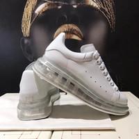 Kadınlar Beyaz Buzağı deri Dantel-up Sneaker Şeffaf Büyük Boy Sole Erkek Ayakkabı Kız Platformu Sneakers Casual Eğitmenler Smooth