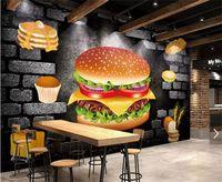 Grande personalizzato sfondo nostalgico Panetteria fast food utensili parete di fondo 3D stereoscopico