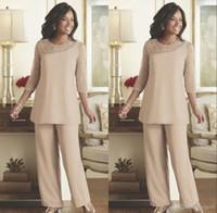 setwell 신부 바지의 어머니의 어머니 여름 시폰 사용자 정의 만든 3/4 긴 소매 웨딩 게스트 착용 어머니 드레스 jumpsuits