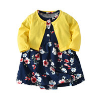 2018 Infant Baby Girl Body Dresses Vestido Floral + manga larga Cardigan 2 Piezas Conjuntos Lindos New Kid Girls Outfit Y19061001