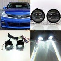 Guia de julho, o rei 1600LM 24W 6000K LED Q5 Lens Fog Lamp + 1000LM Dia 14W Correndo Luzes DRL Case for Nissan Versa Sedan 2007-2011