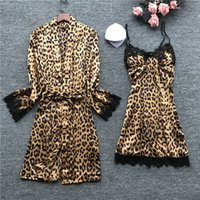 2020 Women Sleepwear Sexy Lace Femme Robe & Gown Sets Sleep Lounge Ladies Summer Silk Nightwear Bathrobe Night Dress
