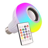 Crestech 24 Keys Remote Control E27 Rgb Wireless Bluetooth Speaker LED Blup Light 12W Music Playing
