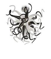 Черно-белый рот выдувной Боросиликат свадебные украшения светодиодный свет потолок современные хрустальные люстры муранское стекло кулон
