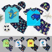 Trajes de niños del bebé traje de baño Traje de neopreno dinosaurio historieta de los muchachos gorros de natación Bañador chica de buceo Traje de baño Protector solar AYP5697 Traje