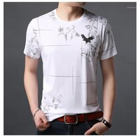 Printed Tshirts Slim Short Sleeve Crew Neck Mens Tops Fashion Pullover Casual Tees Designer Solid Color