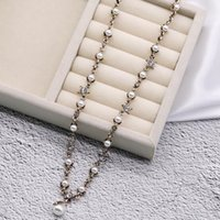 High- end Branad Letters Design Necklace Crystal Pearl Clavic...