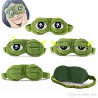 Cute Máscara capa de pelúcia The Sad 3D Olho verde Sapo Máscara Tampa Relaxe Adormecida Resto viagem do sono Anime Presente engraçado da beleza Goggles