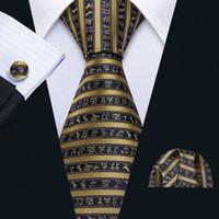 Fast Shipping Tie Set Fashion Blue Gold Striped Men's Silk Wholesale Woven Necktie Pocket Square Cufflinks Wedding Business N-5173