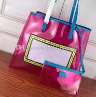 Clássico Mulheres Sacos Limpar Bolsas com letra grande sacola de Flash Embreagens PVC Bolsas Duffle saco transparente