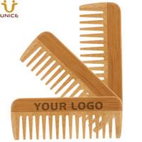 ADEDI 50 ADET Özel Logo Amazon Tedarikçisi Çevre Dostu Bambu Saç Sakal Tarak Erkekler Kadınlar Için