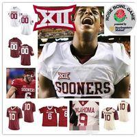 Custom Oklahoma Sooners 2019 Fútbol Cualquier nombre Número Rojo Blanco # 1 duele Cordero Sermón Brooks Rattler Mayfield Rojo Blanco NCAA 150TH Jersey