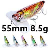 Смешанная 6 Цвет 55мм 8.5г Цикада рыболовные крючки Крючки 8 # Крюк Жесткий Приманки Приманки б-033