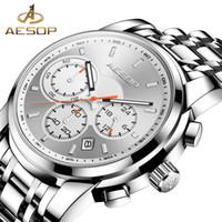 AESOP Erkekler İzle En Marka Lüks Erkekler saatler Erkek Saat Altın Adam İzle Chronograph Su geçirmez Saatler Relogio Masculino