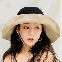 Double- sided Wide Brim Hats Cotton Solid Color Sunscreen Sun...